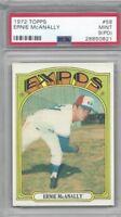 1972 Topps baseball card #58 Ernie McAnally Montreal Expos graded PSA 9 PD Mint