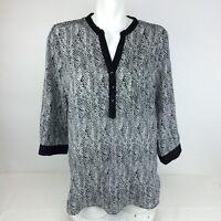 Olive & Oak Women's 3/4 Sleeve Button Front Tunic Sz. L Black & White