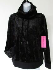 Betsey Johnson Black Velour 2pc Outfit Stretch Casual Lounge Jogging Yoga Gym M