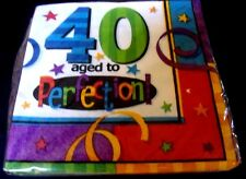 Pack of 16- 40th Birthday Party Aged to Perfection Beverage Napkins