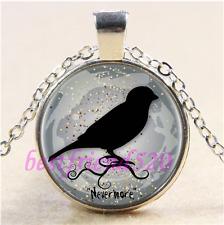 Tibet Silver Chain Pendant Necklace#Ca65 Black Raven Never More Cabochon Glass