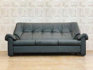1 Of 2 Ekornes Stressless Black Leather 3 Seater Sofa - Retro *£88 DELIVERY*