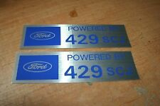 FORD POWERED BY 429SCJ 429 SUPER COBRA JET VALVE COVER DECALS NEW PAIR SILVER BL