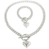 Womens Jewelry Silver Stainless Steel New Heart Curb Chain Necklace Bracelet Set