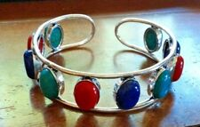 """Turquoise Coral Lapis 10 Gemstone 925 STERLING SILVER BRACELET CUFF Bangle 7-8 """""""