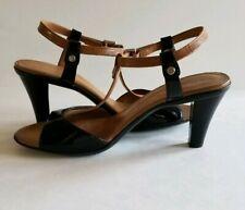 Tahari Betsy 7.5 M Black Brown T Strap Dress Pumps Heels Sandals Dress Formal