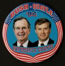 "1992 George H.W. Bush & Dan Quayle 3"" / Presidential Campaign Button (Pin 01)"