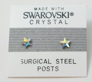 Silver Star Stud Earrings 4mm Crystal Small Made with Swarovski Elements