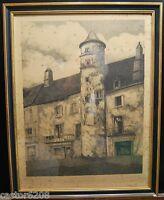 Litografía Torre Meyssac Jean E. Duroeulx Salón Artists Francés 1940 Dedicatoria