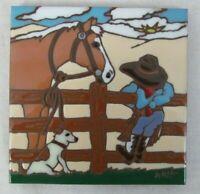 """1999 Earthtones 6"""" Ceramic Art Tile 4814A  """"Little Cowboy"""""""