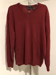 NWT Daniel Bishop Men's 100% Cashmere V Neck Red BURGUNDY Pullover Sweater XXL