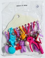 12 VINTAGE 1980's RETRO PLASTIC CLIP-ON CHARMS w/JINGLE BELLS NISP~NEW~OLD STOCK