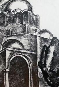 VINTAGE INK DRAWING CATHEDRAL