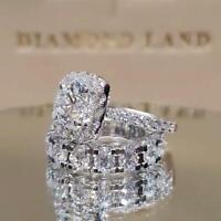 Size 6-10 White Sapphire 925 Silver Wedding Band Rings Set Women Fashion Jewelry