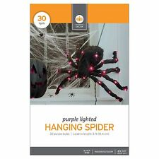 "New 3D Lit Purple Lighted Hanging Spider Indoor/outdoor 24"" in H Black Wire"