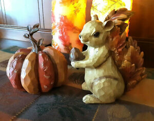 Autumn Harvest PUMPKIN and SQUIRREL Carved Wood-Look Fall Thanksgiving Figurines