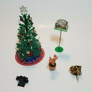 Vintage 1970s Lundby Christmas Tree Plants Bird Cage Phone Dollhouse Accessories