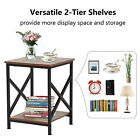 Iron+Frame+Accent+End+Table+Wood+Nightstand+Bedroom+Bedside+Furniture