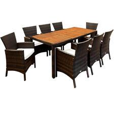 Poly Rattan Sitzgruppe Gartenmöbel Set Essgruppe Sitzgarnitur Garten 8+1 Braun