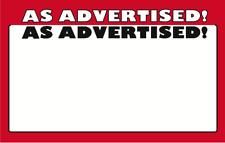 Retail Store As Advertised Display Sale Price Signs 11 X 7 50 Pcs