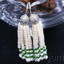 N1610066    natural 3-4mm white freshwater pearls earrings-CZ Pave Leverback