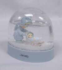 1987 Precious Moments January (Mom Pushing Baby Stroller/Sled) Winter Snow Globe