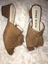 Anne Klein Salome Tassel Mule Sandals Suede leather SZ 8 M NEW