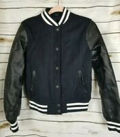 Levi's Black Letterman Varsity Jacket Snap Zip Front Womens Small Faux Leather