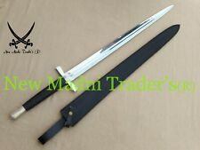"42"" HIGH CARBON STEEL EUROPEAN MEDIEVAL BLACK LEATHER HANDLE LONG SWORD"