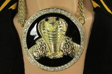 New Men Gold Metal Black Huge Cobra Large Snake Fashion Necklace Big Pendant