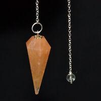 40-45 MM Long Natural Yeloow Aventurine Healing Dowsing  Pendulum With Chain