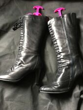 Clarks Size 8,Black Leather Boots, Lace Up Victorian Style