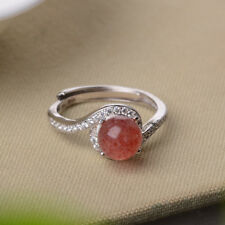 Noble Romantic Natural Strawberry Crystal Quartz S925 Silver Wedding Ring Gifts