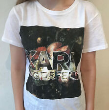 Brand New Karl Lagerfeld White women's Tee 79KW1731 Graphic Floral Tee RRP £165