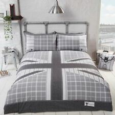 COOL BRITANNIA DOUBLE DUVET COVER SET UNION JACK FLAG - GREY