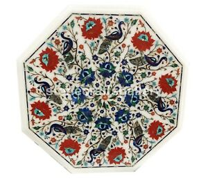 """15"""" White Marble Coffee Table Lapis Peacock Inlay Floral Art Home Decorates W004"""