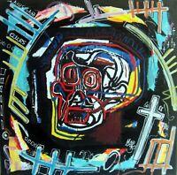 PyB signed SKULL Basquiat TABLEAU pop STREET art graffiti french PAINTED canvas