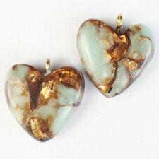 4Pcs Snake Skin Jasper & Gold Copper Bornite Heart Pendant Bead