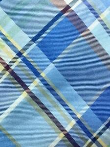 TOMMY HILFIGER BLUE IVORY YELLOW PLAID CHECKER SILK NECKTIE TIE MJL0521A #Y38