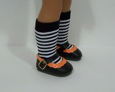 "2-Tone BLACK ORANGE Doll Shoes For 14"" American Girl Wellie Wisher Wishers (Debs"