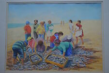 "Fine Pastel ""Sorting the Fish Catch on the Beach "" Westminster Gallery Label"