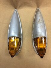 Vintage Peerless 185 NOS truck cab marker, clearance lights w/amber glass lens