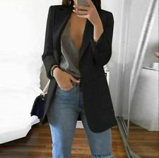 Women Slim Blazer Jacket Top Outwear Long Sleeve Career Formal Coat Black 2XL