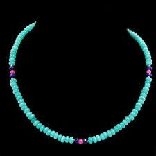 JEWELHAUS edle Amazonit Kette Halskette Collier mit Saphir und Rubin neu 2221