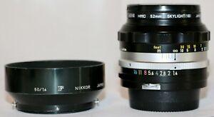 Nikon Nikkor S.C Auto 50mm f/1.4 Multicoated + Lens Hood Made 1974 Pre AI GREAT