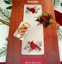 Christmas Table Runner Cardinals Holly Leaves Country Log Cabin Farmhouse Decor