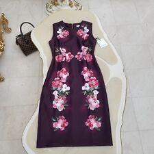 Calvin Klein Floral Printed Sheath Women's Dress Size 10 Aubergine Multi
