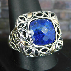 Angela by John Hardy 925 Sterling Silver & 14K Gold Faceted Blue Lapis Ring