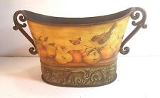 """ORNATE METAL PLANTER WITH IMAGES OF FRUIT, BUTTERFLIES AND BIRDS 8.5"""" X 16"""" X 8"""""""