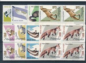 [G44412] Mongolia Wild Animals Good set blocks of 4 VF MNH stamps